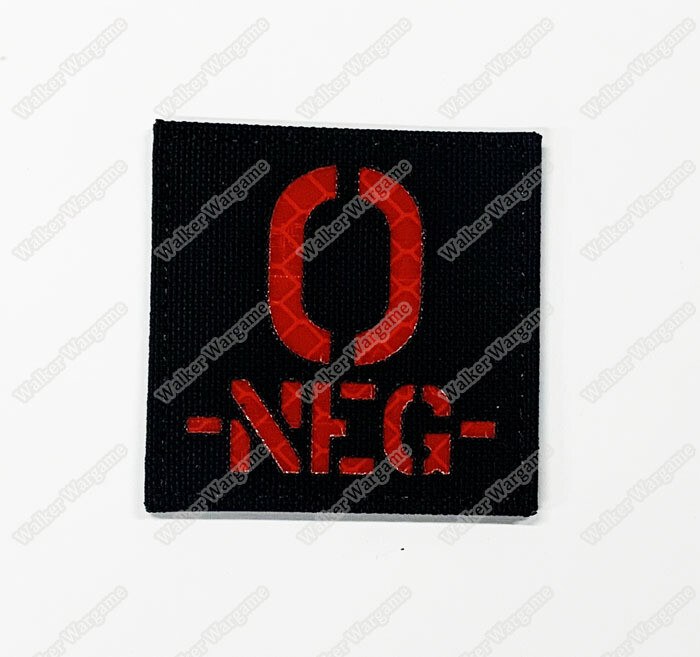 LWG012 O NEG - Laser Cut Reflective Blood Type Patch With Velcro