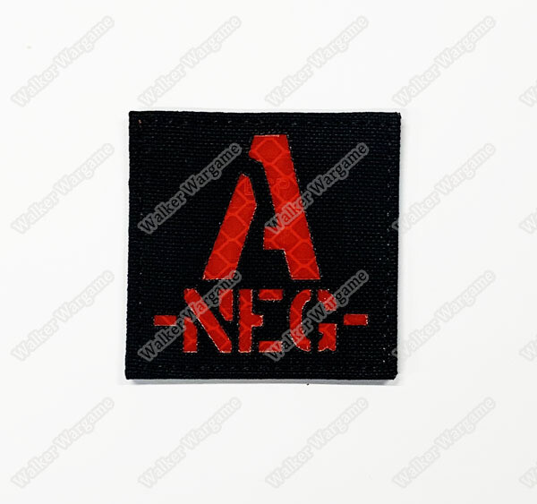LWG013 A NEG - Laser Cut Reflective Blood Type Patch With Velcro
