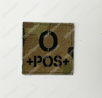 LWG016 O POS Blood Type Multicam - Laser Cut Patch With Velcro