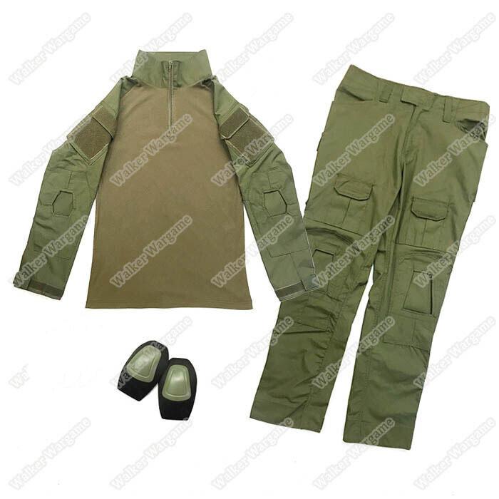 Combat Set Shirt & Pants Build in Knee Pads - OD Green