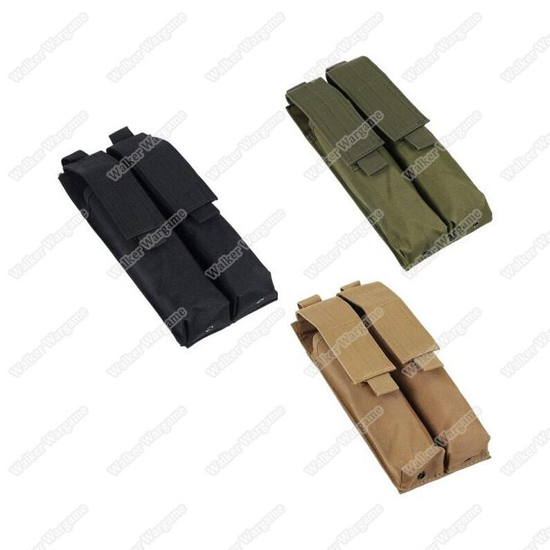 Tactical Double P90 UMP Mp5 Molle Magazine Pouch - Black & Tan