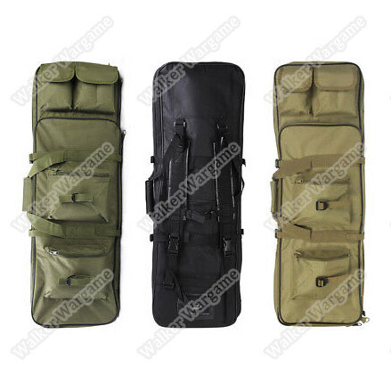85CM Dual Rifle Bag with Shoulder Strap Paintball Rifle Gun Backpack Hunting Bag Case - Black & Tan