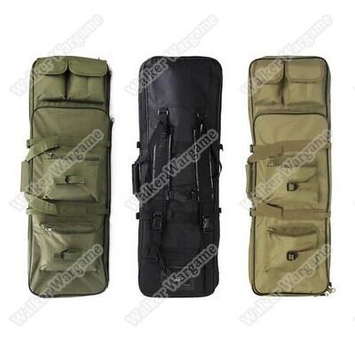 85CM Dual Rifle Bag with Shoulder Strap Paintball Rifle Gun Backpack Hunting Bag Case - Black & Tan