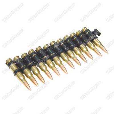 Super Realistic M249 5.56 Cartridge Belt (Fake Dummy Shell Bullets) - set of 12