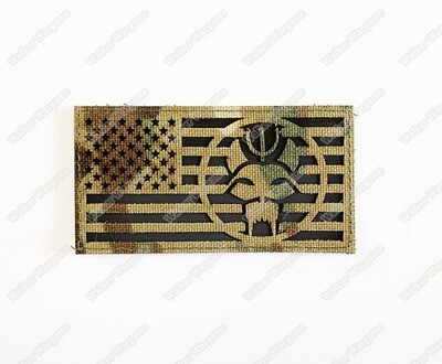 LWG024 US Flag MC Multicam Navy SEAL Bravo Team Left Arm - Laser Cut Patch With Velcro