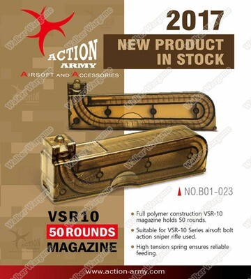 Action Army BAR10 VSR10 Mid Cap Bolt Action Airsoft Magazine - 30 Rounds