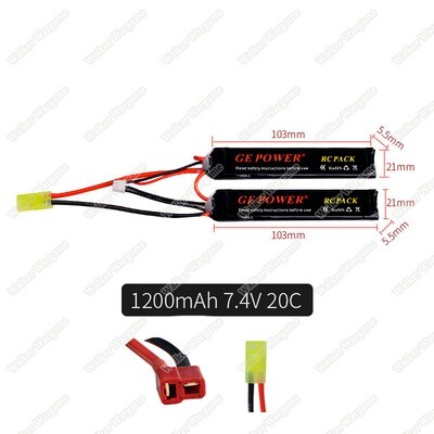 GE Power Lipo battery 7.4V 1200MAH 20C RC Airsoft Gun Battery 2P Type (Deans And Tamiya Connect)