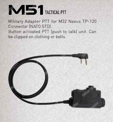 M51 EARMOR Tactical PTT(push to talk) For Kenwood 2 Pin