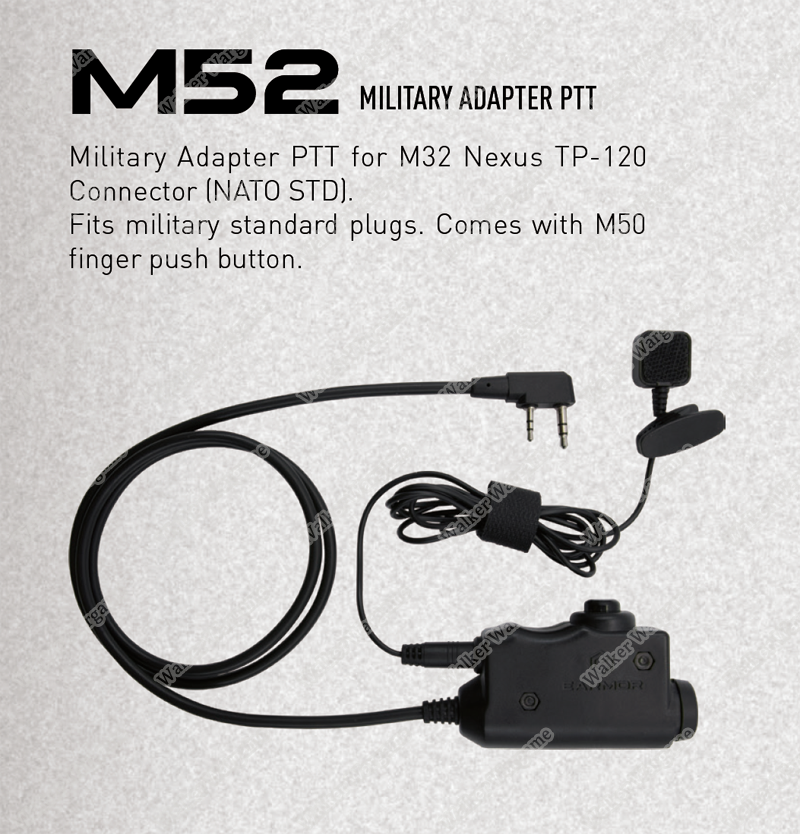 M52 EARMOR Tactical PTT with Finger button (push to talk) For Kenwood 2 Pin