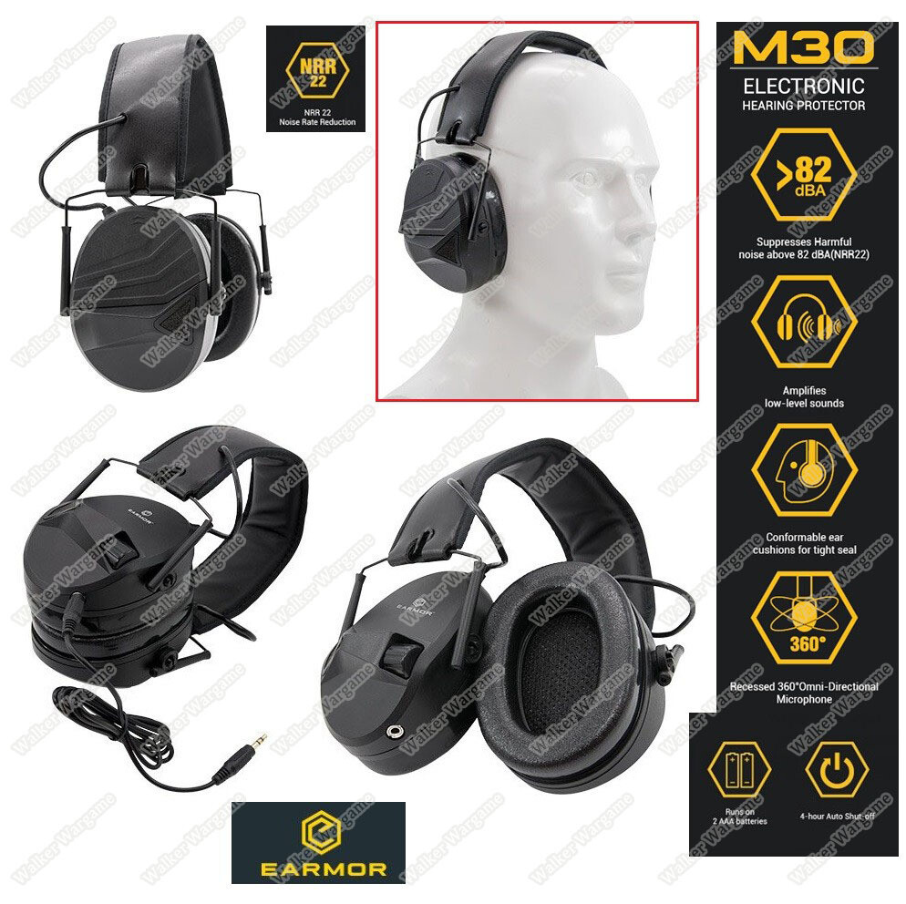 EARMOR M30 Sport Shooting Electronic Hearing Protector with AUX