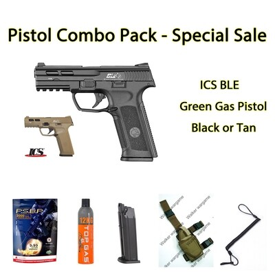 Pistol Combo Pack - ICS GBB with BB, Gas, Mag, Holster Sling Save R910.00