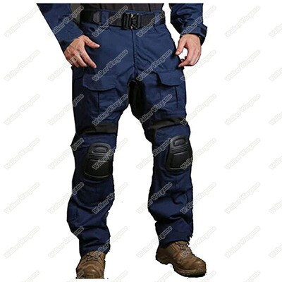Combat Pants Build In Knee Pads - SWAT Police Navy Blue