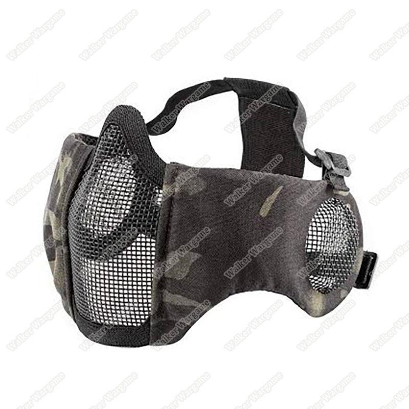 V1E Stalker Type Half Face Metal Mesh Mask With Integrated Mesh Ear Protection Multicam Black