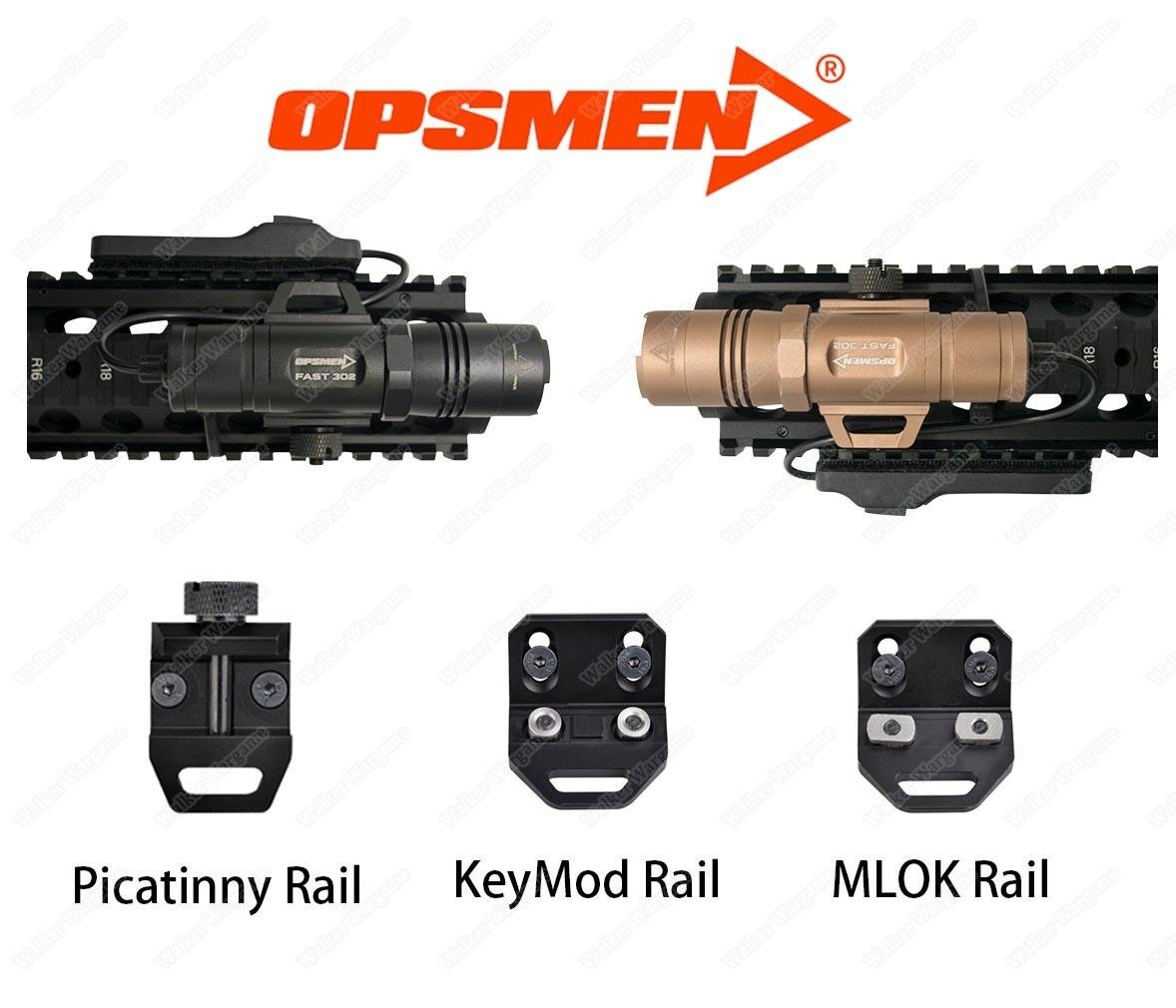 Opsmen FAST 302 Compact  Flashlight 400 Lumens (KeyMod, MLOK, Picatinny Rail)