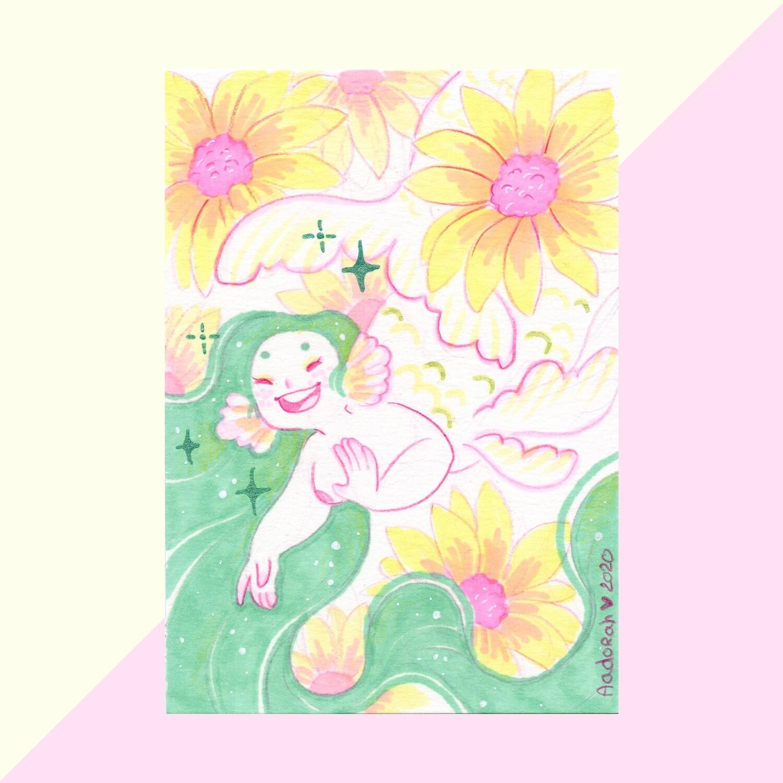 Sunflower Mermaid - Original