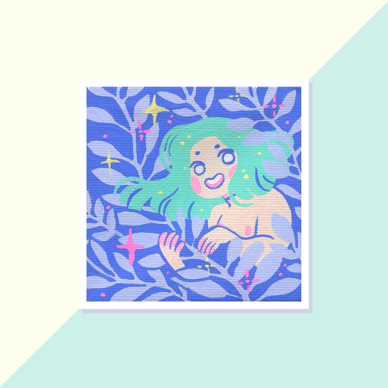Gouache Original - Mini Canvas - Fern Spirit 01