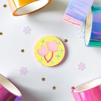 Pin/Magnet - Pastel Mushroom - Yellow 01