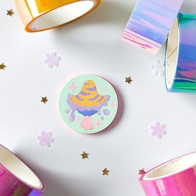 Pin/Magnet - Pastel Mushroom - Mint 01