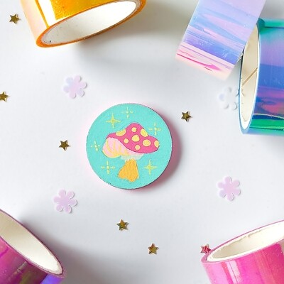 Pin/Magnet - Pastel Mushroom - Turquoise 01