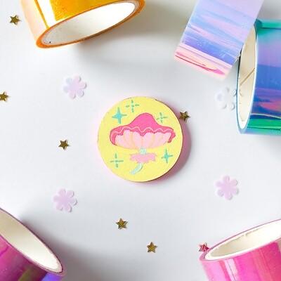 Pin/Magnet - Pastel Mushroom - Yellow 02