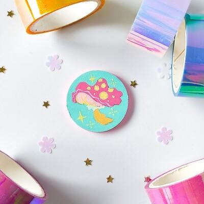 Pin/Magnet - Pin/Magnet - Pastel Mushroom - Turquoise 02