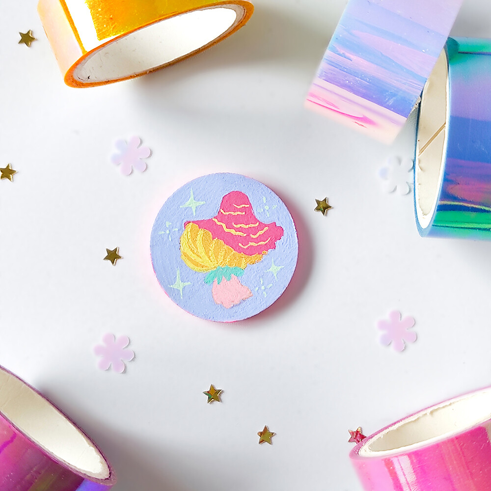 Pin/Magnet - Pastel Mushroom - Lavender 02