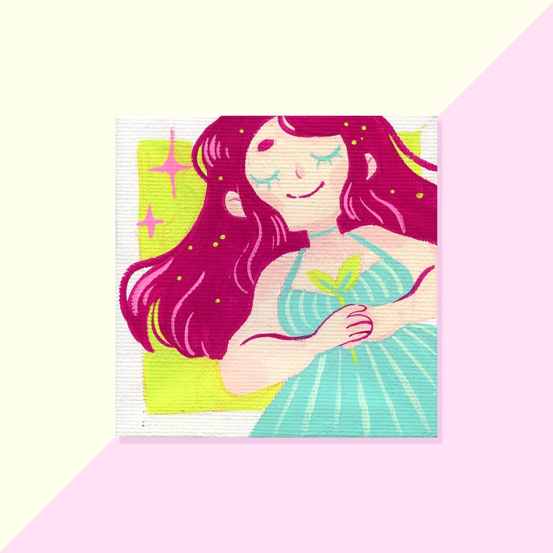 Gouache Original - Mini Canvas - Strawberry Hair