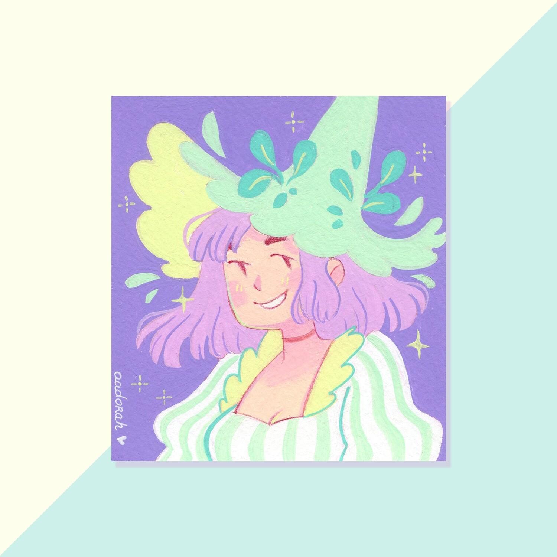 Gouache Original - Mint Witch