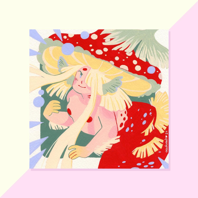Gouache Original - Amanite Mushroom Mermaid