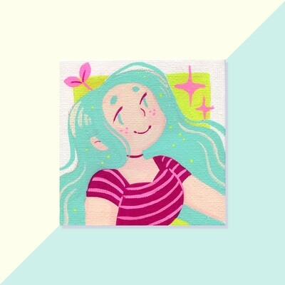 Gouache Original - Mini Canvas - Mint Hair