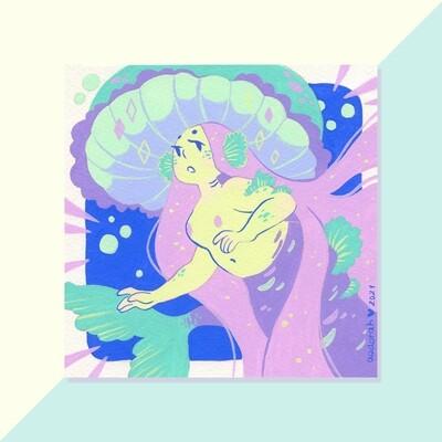 Gouache Original - Purple Mushroom Mermaid