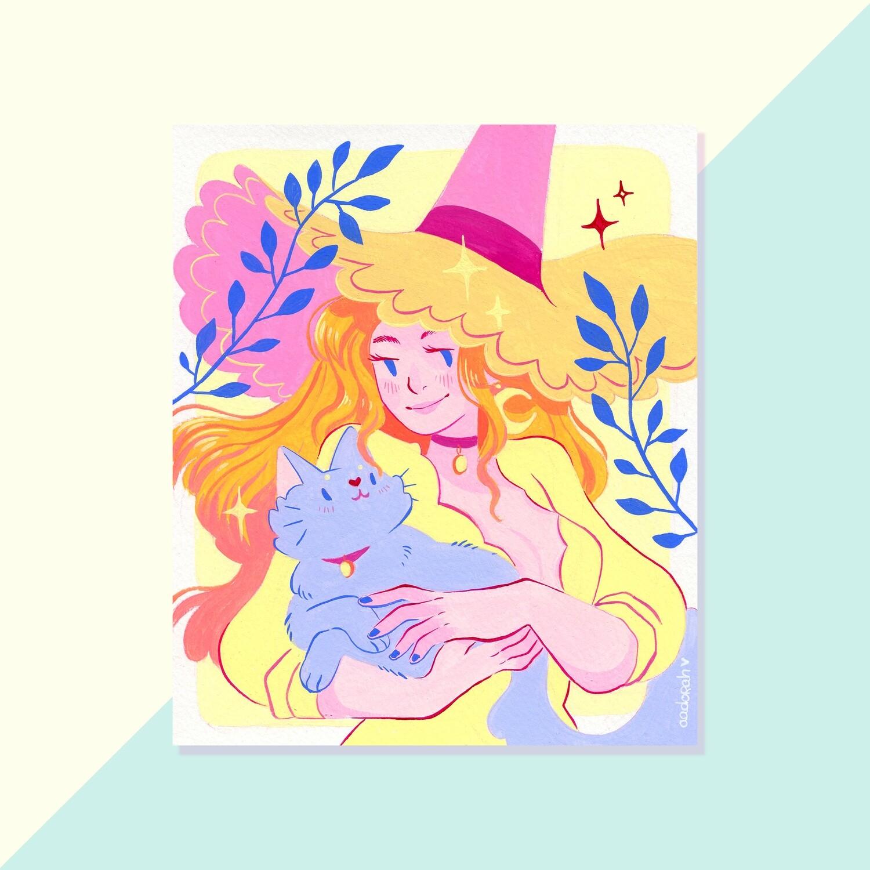 Gouache Original - Fire Hair Witch
