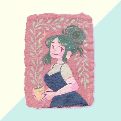Gouache Original - Plant Lady