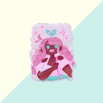 Gouache Original - Pink Hair Cutie