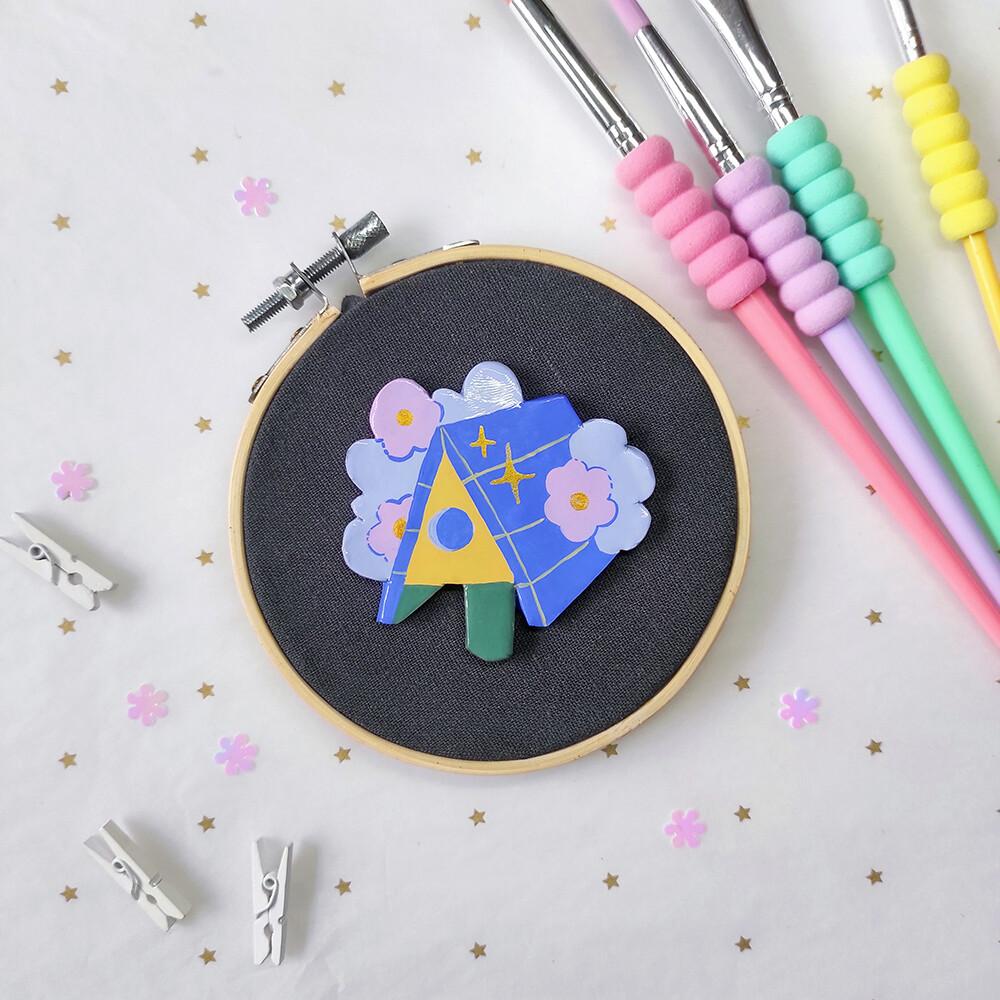 Blue Bird House - Handmade pin/magnet