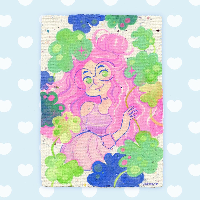 Gouache Original - Pink Hair Lady
