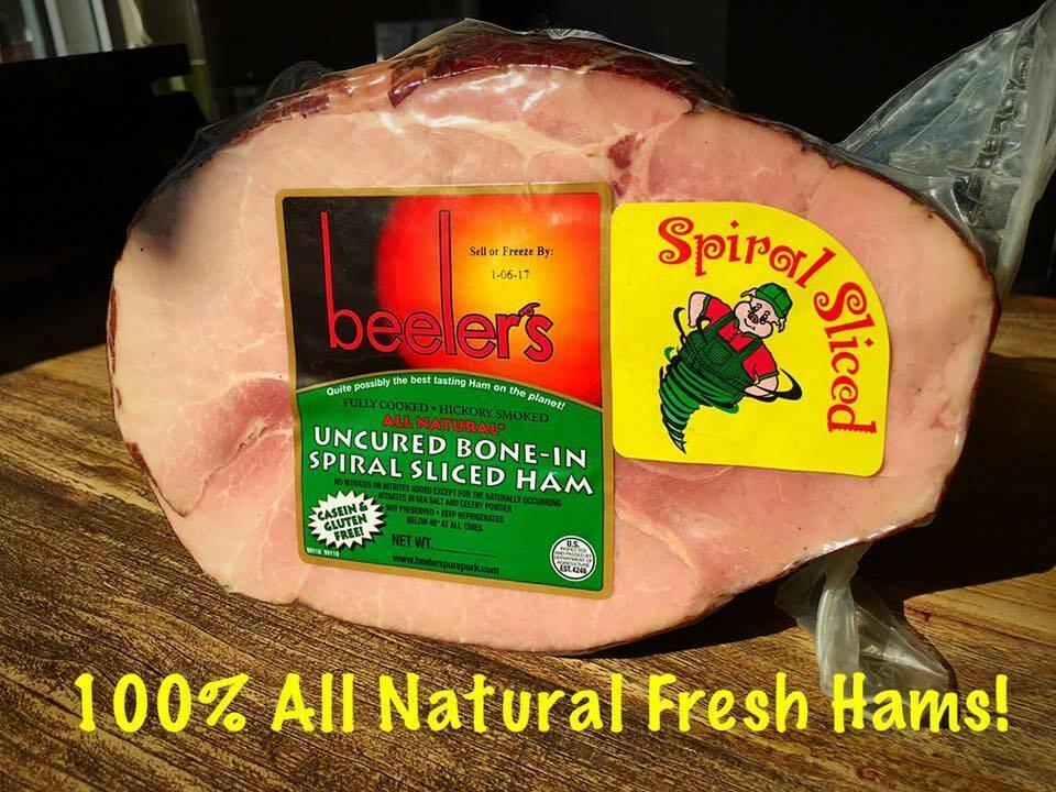 All Natural 6.5lb. Beelers Spiral Sliced Ham