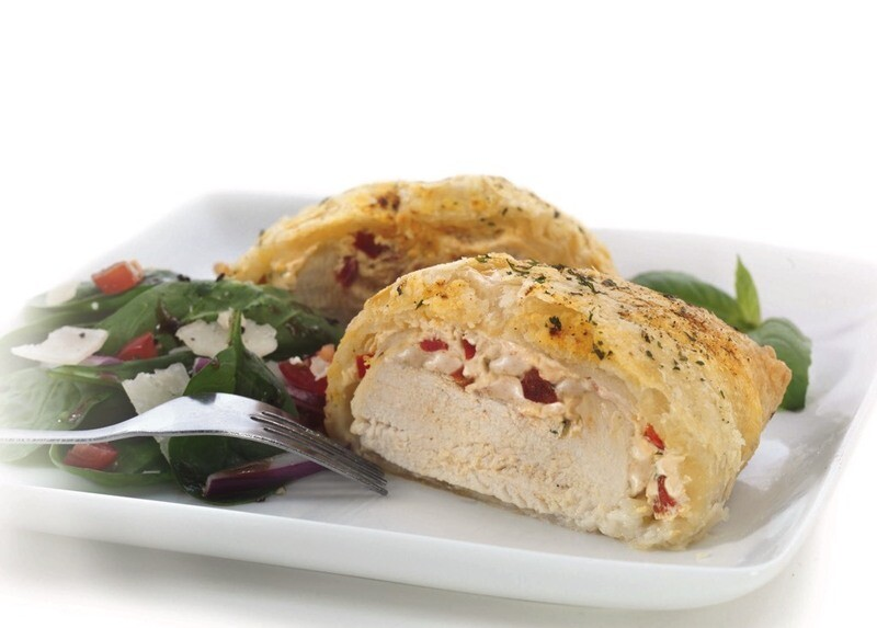 Goat Cheese & Roasted Pepper Chicken Breasts In A Puff Pastry