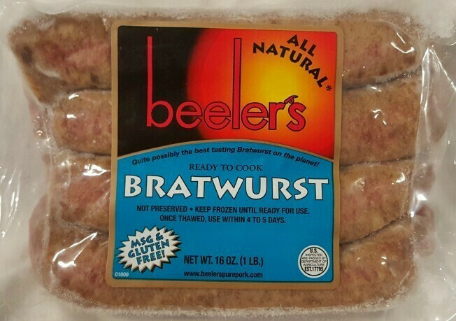 Beelers All Natural Brats 16oz