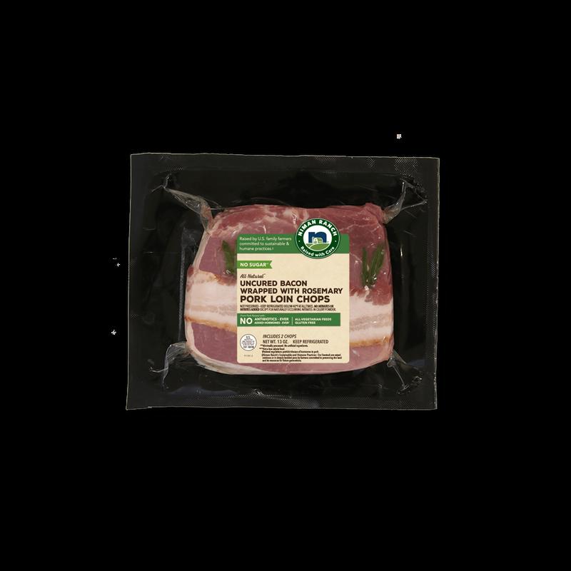 Bacon Wrapped Rosemary Pork Chops