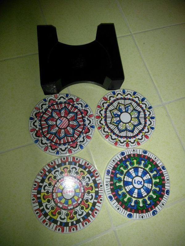 Artistic design Ceramic coasters with holder