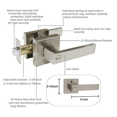 Knobonly Bathroom/Bedroom Door Levers Keyless Door Handles 1 Pack