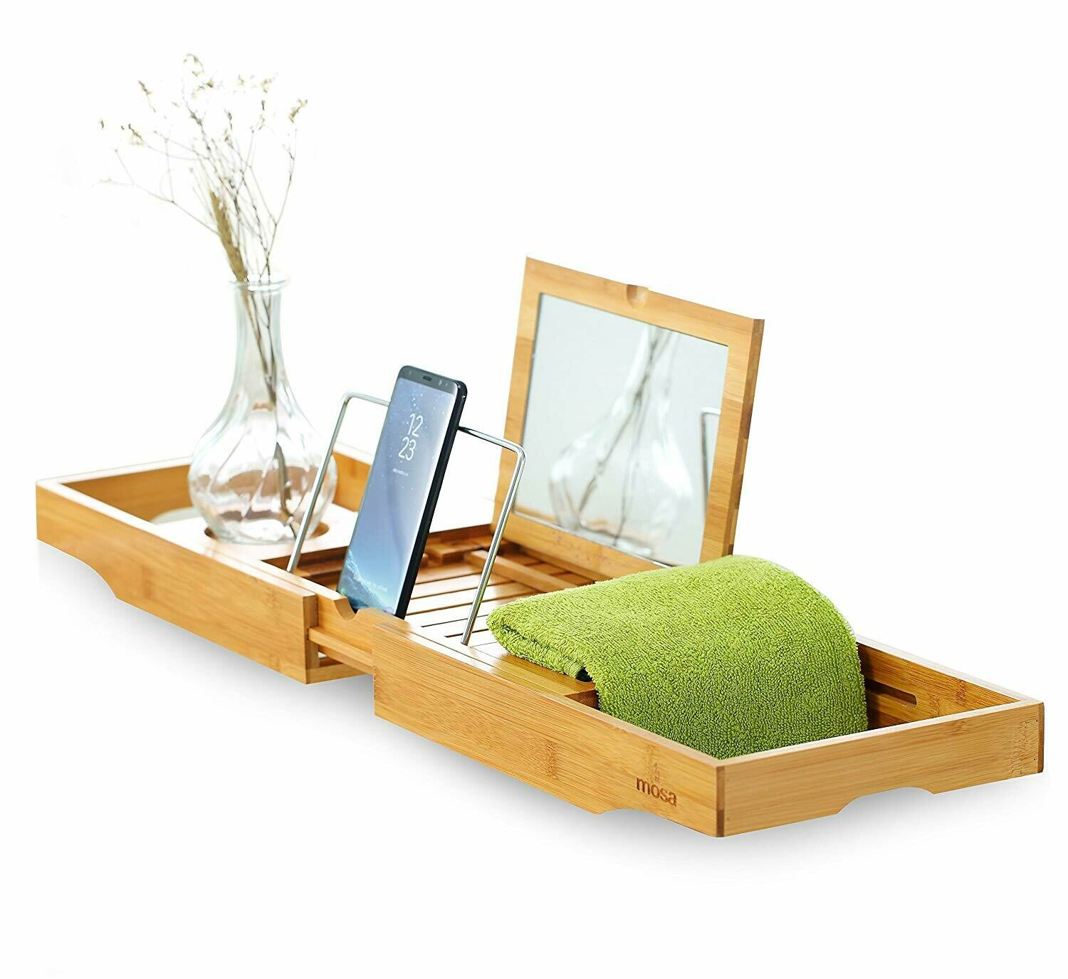 "Mosa Natural Bamboo Bathtub Tray Bath Caddy Book Wine Glass Holder, 27.6"" X 8.7"" X 1.9"","