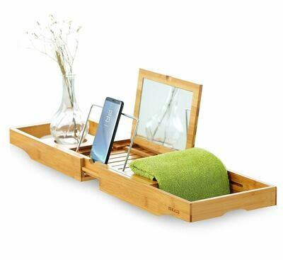 Mosa Natural Bamboo Bathtub Tray Bath Caddy Book Wine Glass Holder, 27.6