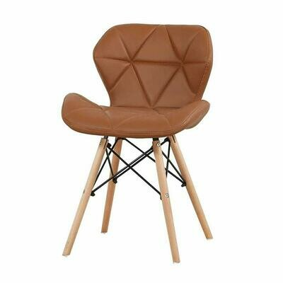 Kitchen Dining Chair, Modern PU Leather Plastic Seat Metal and Wooden Legs, Suitable for Family Kitchen Living Room Bedroom Side Chair,Brown