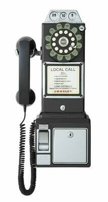 Crosley CR56-BK 1950's Payphone with Push Button Technology, Black