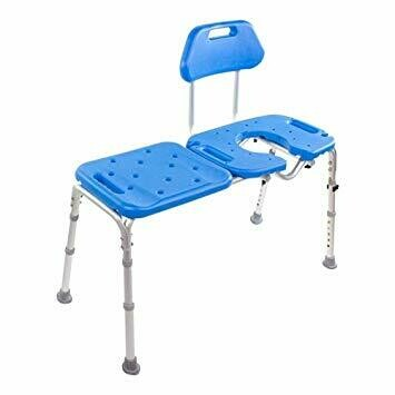 Bath Transfer Bench with Cutout, Deluxe All-Access for Tub and Shower Transfers. (Blue)