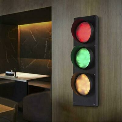 NIUYAO Remote Control Traffic Light Wall Light Retro Industrial Wall Lamp with Remote Control 3 Light 19'' H 5W Energy-Saving LED Wall Lamp in Black Finish Bulb Included (3 Light 19'' H) 424383