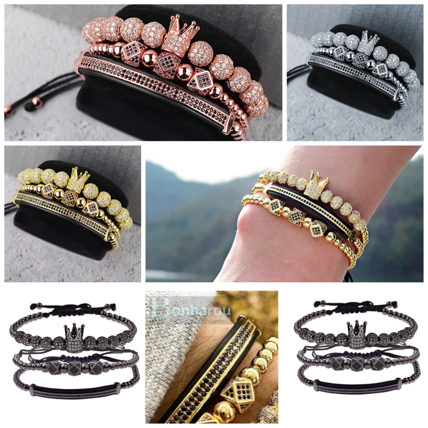 LUXURY CROWN BRACELET 3 PZAS.