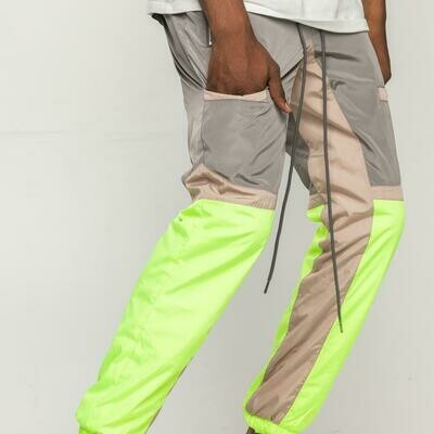 EPTM GREY/NEON YELLOW-COLOR BLOCK WINDBREAKER PANTS
